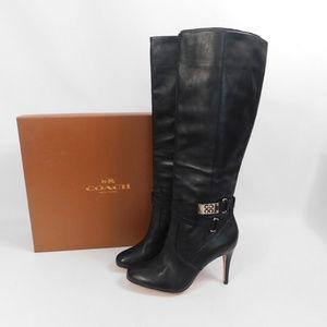 NWB Coach heeled black boots knee high